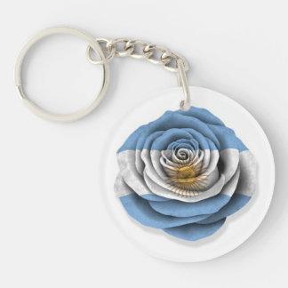 Argentinian Rose Flag on White Keychain