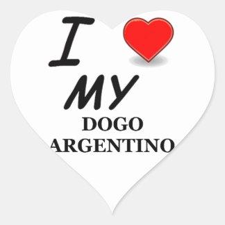 argentino del dogo pegatina en forma de corazón