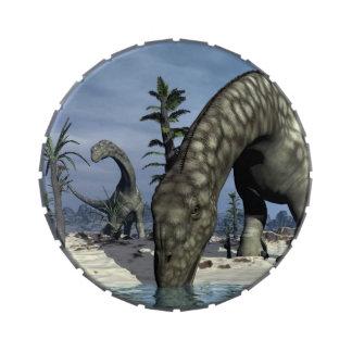 Argentinosaurus dinosaur drinking jelly belly candy tin