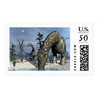 Argentinosaurus dinosaur drinking postage