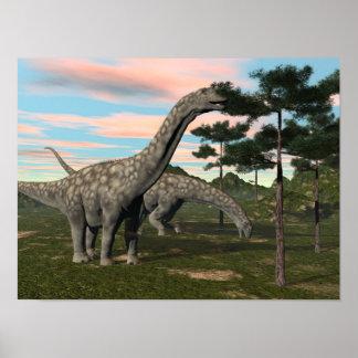 Argentinosaurus dinosaur eating tree - 3D render Poster