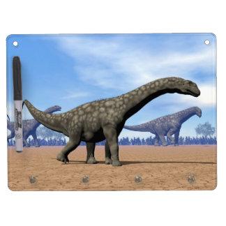 Argentinosaurus dinosaurs walk - 3D render Dry Erase Board With Keychain Holder