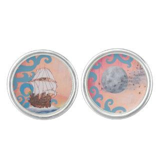 Argo Navis Round Cufflinks, Silver Plated Cufflinks