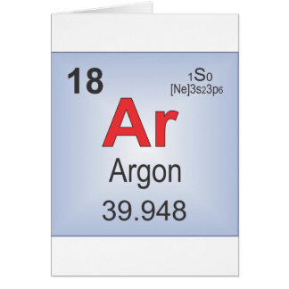 Argon Individual Element of the Periodic Table Greeting Card