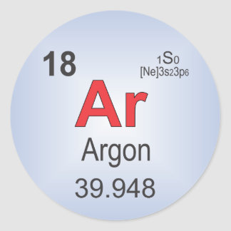 Argon Individual Element of the Periodic Table Classic Round Sticker