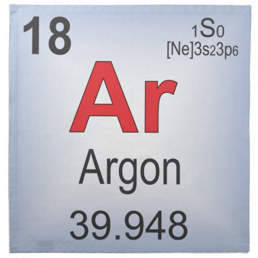 Argon Individual Element of the Periodic Table Napkin | Zazzle