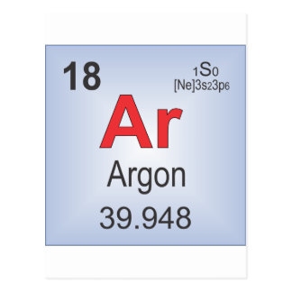 Argon Individual Element of the Periodic Table Postcard