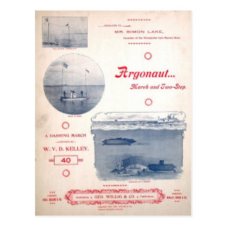 Argonaut March, Early Submarine, photographs Postcard