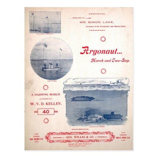 Argonauta marzo, submarino temprano, fotografías postales