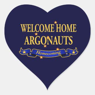 Argonautas caseros agradables pegatina en forma de corazón