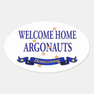 Argonautas caseros agradables pegatina ovalada