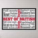 Argot inglés en la bandera de gran británico póster