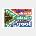 Argot y coloquialismos surafricanos rectangular pegatina