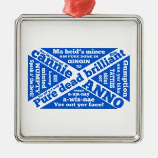 Argot y frases escoceses adorno navideño cuadrado de metal
