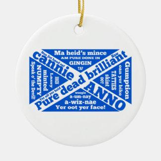 Argot y frases escoceses adorno navideño redondo de cerámica