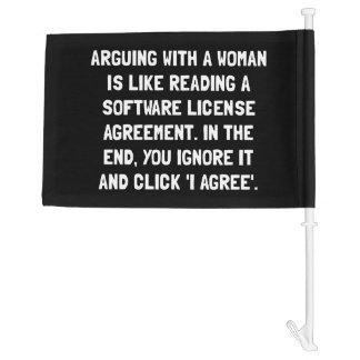 Arguing Woman Car Flag