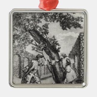 Argument between Jean-Jacques Rousseau Metal Ornament