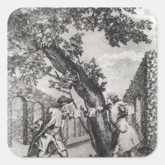 Argument between Jean-Jacques Rousseau Square Sticker