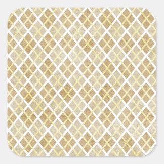 argyle16 ARGYLE TAN LIGHT YELLOW BROWN WHITE PATTE Square Sticker