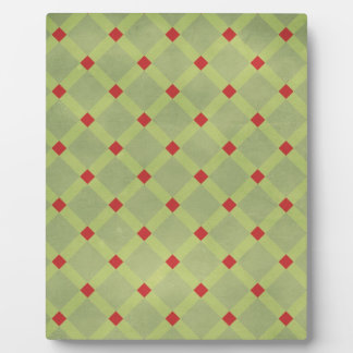 argyle19 GREENS RED SQUARES ARGYLE BACKGROUNDS PAT Display Plaques