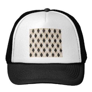 ARGYLE22 BLACK WHITE TAN ARGYLE PATTERN DIAMOND SH TRUCKER HAT