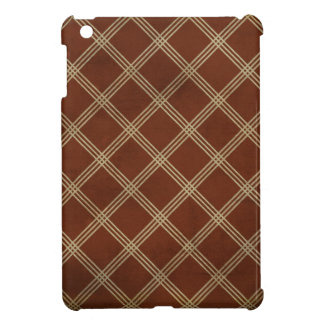 argyle24 BROWN CREAM SQUARES PATTERNS TEMPLATES AR Cover For The iPad Mini