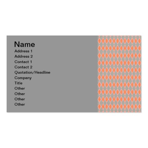 argyle26-small ARGYLE LIGHT ORANGE PEACH PATTERNS Double-Sided Standard Business Cards (Pack Of 100)