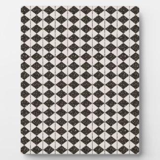 ARGYLE30 BLACK WHITE ARGYLE PATTERN TEMPLATES DISPLAY PLAQUE