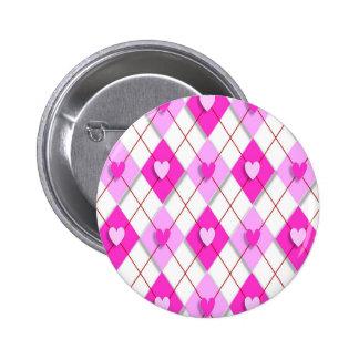 argyle-847000 PINK WHITE ARGYLE DIAMOND SHAPES HEA 2 Inch Round Button