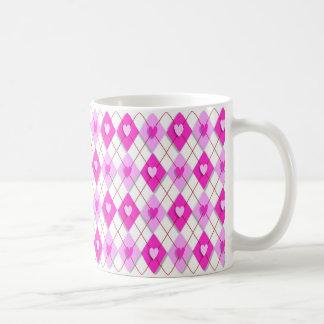 argyle-847000 PINK WHITE ARGYLE DIAMOND SHAPES HEA Coffee Mug