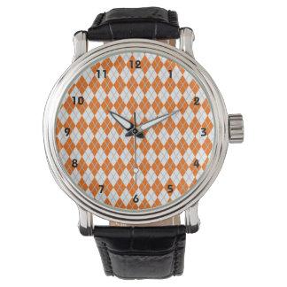 Argyle anaranjado y blanco relojes