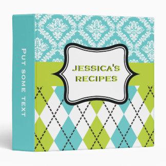 Argyle and damask pattern green, aqua recipe binder