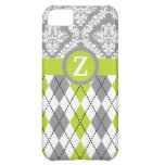 Argyle and damask pattern green, grey monogram iPhone 5C cover