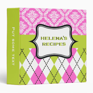 Argyle and damask pattern green, hot pink recipe 3 ring binder