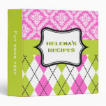 Argyle and damask pattern green, hot pink recipe 3 ring binders