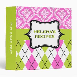 Argyle and damask pattern green, hot pink recipe 3 ring binders