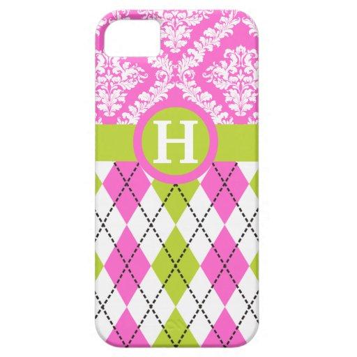 Argyle and damask pattern green, pink monogram iPhone SE/5/5s case
