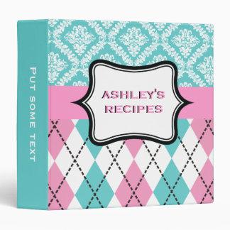 Argyle and damask pattern pink, aqua recipe binder