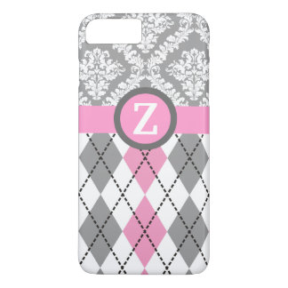 Argyle and damask pattern pink, grey monogram iPhone 7 plus case