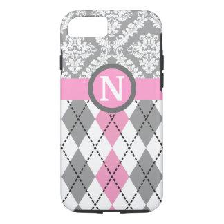 Argyle and damask pattern pink, grey monogram iPhone 8/7 case