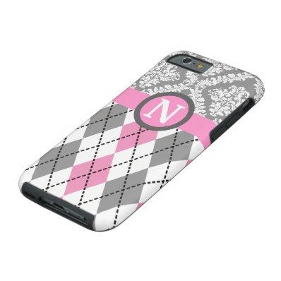 Argyle and damask pattern pink, grey monogram tough iPhone 6 case