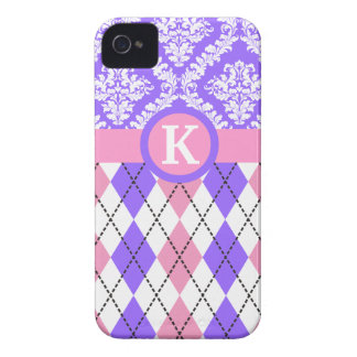 Argyle and damask pattern pink, purple monogram Case-Mate iPhone 4 case