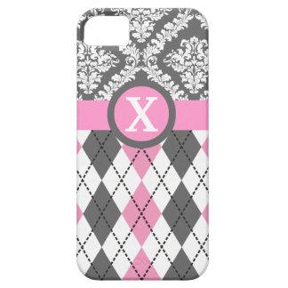 Argyle and damask pattern pink, yellow monogram iPhone SE/5/5s case