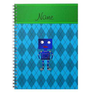 Argyle azul conocido personalizado del azul de cuaderno