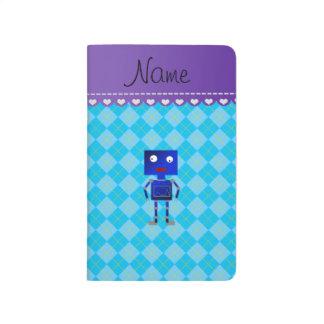 Argyle azul conocido personalizado del azul de cuadernos