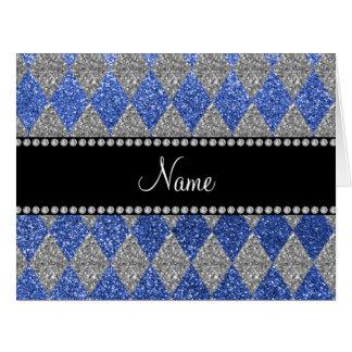 Argyle azul conocido personalizado del brillo felicitaciones