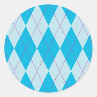 Argyle azul pegatina redonda
