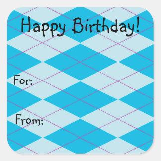 Argyle azul pegatina cuadrada