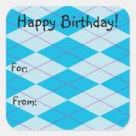Argyle azul pegatina cuadradas