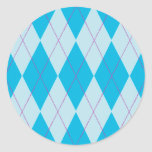 Argyle azul pegatinas redondas